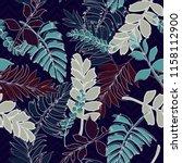 trendy summer tropical leaves... | Shutterstock .eps vector #1158112900