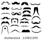 set of moustaches   Shutterstock . vector #115811359