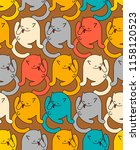 cat washed pattern seamless.... | Shutterstock .eps vector #1158120523
