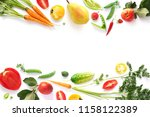 various vegetables and fruits...   Shutterstock . vector #1158122389