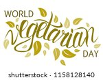 world vegetarian day poster.... | Shutterstock .eps vector #1158128140