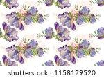 hand drawn watercolor flower... | Shutterstock . vector #1158129520