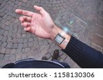 human arm with digital implants ... | Shutterstock . vector #1158130306