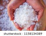 pure white crystals salt  rock... | Shutterstock . vector #1158134389