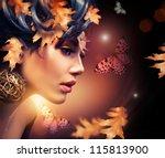 autumn woman fashion portrait.... | Shutterstock . vector #115813900