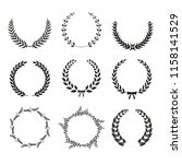 black vector laurel wreaths on...   Shutterstock .eps vector #1158141529