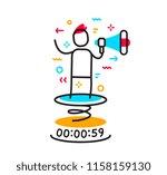 leadership speech in megaphone... | Shutterstock .eps vector #1158159130