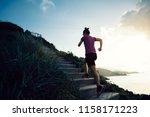 woman runner running up on... | Shutterstock . vector #1158171223