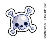 fashion patch skull badge. old... | Shutterstock .eps vector #1158184750