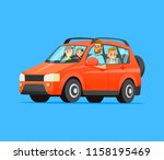 family road trip. happy family... | Shutterstock .eps vector #1158195469