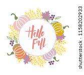 hello fall   brush hand... | Shutterstock .eps vector #1158202933