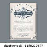 floral vintage frame with... | Shutterstock .eps vector #1158210649
