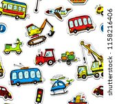 funny cars seamless pattern.... | Shutterstock . vector #1158216406