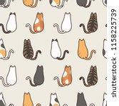 cute cat sitting seamless... | Shutterstock .eps vector #1158225739