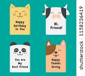 funny animals greetings card... | Shutterstock .eps vector #1158236419