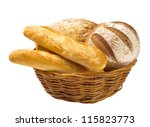 Bread Loaves And Baguettes In A ...