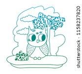 degraded line owl cute wild... | Shutterstock .eps vector #1158237820