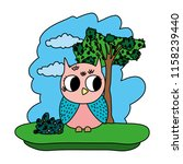 color owl cute wild animal in... | Shutterstock .eps vector #1158239440