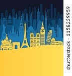 world famous monuments skyline. ... | Shutterstock .eps vector #1158239959