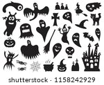 set of silhouettes of halloween ... | Shutterstock .eps vector #1158242929