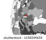 hungary on gray political globe ... | Shutterstock . vector #1158244633