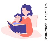 mom and son get ready for bed... | Shutterstock .eps vector #1158248176