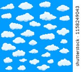 clouds set isolated on blue... | Shutterstock .eps vector #1158249043