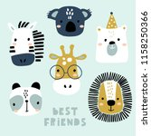 set of cute animal faces.... | Shutterstock .eps vector #1158250366