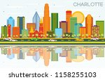 charlotte north carolina city... | Shutterstock .eps vector #1158255103