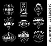 barber shop retro emblems in... | Shutterstock .eps vector #1158260860