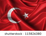 Realistic Wavy Flag Of Turkey.