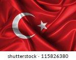 Realistic Wavy Flag Of Turkey.