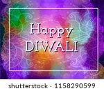 happy diwali card. violet... | Shutterstock .eps vector #1158290599