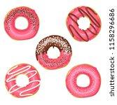 set of vector sweet pink glazed ... | Shutterstock .eps vector #1158296686