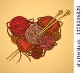 balls of wool and knitting... | Shutterstock .eps vector #1158336820