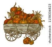 autumn harvest. wooden cart... | Shutterstock .eps vector #1158336823