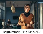 portrait of positive female... | Shutterstock . vector #1158345643