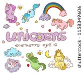 set of cute cartoon unicorns... | Shutterstock .eps vector #1158349606