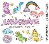 set of cute cartoon unicorns... | Shutterstock .eps vector #1158349606