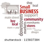 vector - Small Business Word Cloud with main street store graphic to encourage shopping at local community businesses. EPS8 compatible.