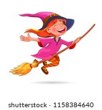 a little witch flies on a broom.... | Shutterstock .eps vector #1158384640