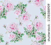 roses flowers watercolor... | Shutterstock . vector #1158388909