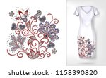 embroidery colorful trend... | Shutterstock . vector #1158390820