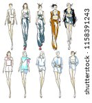 sketch. fashion girls on a... | Shutterstock . vector #1158391243