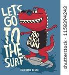 funny dinosaur is riding... | Shutterstock .eps vector #1158394243