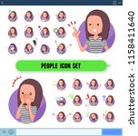 a set of woman with expresses... | Shutterstock .eps vector #1158411640