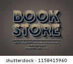 vector logo retro store. 3d... | Shutterstock .eps vector #1158415960