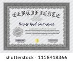 grey diploma. with guilloche... | Shutterstock .eps vector #1158418366