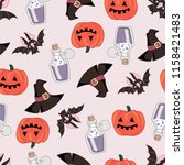 halloween seamless pattern... | Shutterstock .eps vector #1158421483