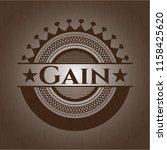 gain badge with wood background | Shutterstock .eps vector #1158425620